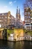 Opiniões gerais da paisagem na igreja holandesa tradicional Imagens de Stock Royalty Free