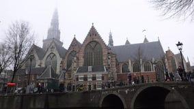 Opiniões gerais da paisagem na igreja holandesa tradicional Lapso de tempo video estoque
