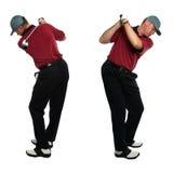 Opiniões laterais do jogador de golfe Imagem de Stock