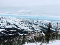 Opiniões majestosas do inverno em torno de Wasatch Front Rocky Mountains, Brighton Ski Resort, perto do vale de Salt Lake e de He Foto de Stock