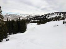 Opiniões majestosas do inverno em torno de Wasatch Front Rocky Mountains, Brighton Ski Resort, perto do vale de Salt Lake e de He Fotos de Stock