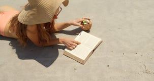 Opini?n de alto ?ngulo la mujer cauc?sica en sombrero que lee un libro en la playa 4k metrajes