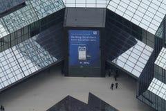 Opini?n de Arial de la entrada de Deutsche Bank en Francfort imágenes de archivo libres de regalías