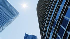 Opini?n de ?ngulo bajo de rascacielos Rascacielos que miran para arriba perspectiva Vista inferior de rascacielos modernos en neg stock de ilustración