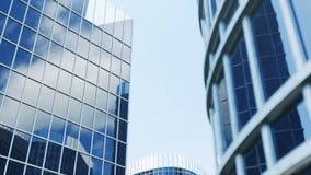 Opini?n de ?ngulo bajo de rascacielos Rascacielos que miran para arriba perspectiva Vista inferior de rascacielos modernos en neg ilustración del vector