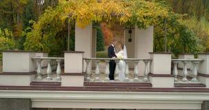 Opini?n del helic?ptero de la boda Novio y novia que caminan sin embargo el parque grande del thw rodeado por el bosque metrajes