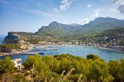 Opini?n panor?mica Port de Soller, Mallorca imagen de archivo