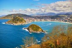 Opini?n a?rea San Sebastian Donostia, Espa?a fotografía de archivo libre de regalías