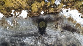 Opini?n a?rea sobre el r?o con el hielo de fusi?n, tiempo soleado de la primavera con nieve imagen de archivo