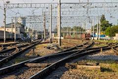 Opini?n sobre pistas de un ferrocarril foto de archivo libre de regalías