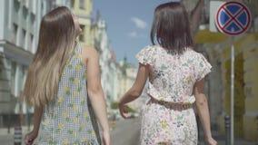Opini?n trasera dos mujeres que caminan con los panieres Chicas jóvenes que llevan los vestidos elegantes del verano que gozan co almacen de video