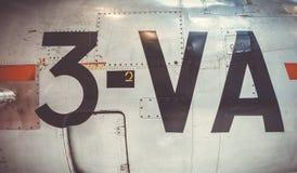 Opini?o velha do close up da fuselagem do avi?o do vintage fotografia de stock