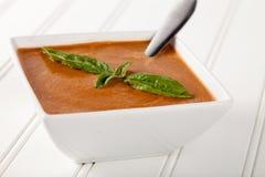 Opinión angulosa de Basil Soup del tomate orgánico Fotos de archivo libres de regalías