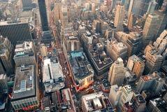 Opinión aérea de la calle de New York City Imágenes de archivo libres de regalías