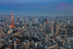 Opinión aérea de la ciudad de Tokio con la torre de Tokio después de la puesta del sol Fotos de archivo libres de regalías