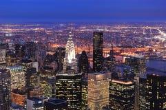 Opinión aérea del horizonte de New York City Manhattan Imagen de archivo libre de regalías