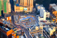 Opinión aérea del paisaje urbano con la construcción de edificios Hon Kong hasta Imagen de archivo