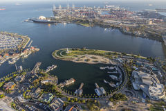 Opinión aérea del puerto del arco iris de Long Beach Imagen de archivo