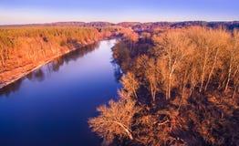 Opinión aérea del río Foto de archivo