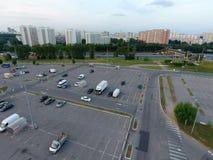 Opinión aérea sobre el estacionamiento Imagenes de archivo