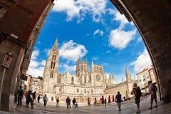 Opinión de Fisheye de la catedral en Burgos, España Imagen de archivo libre de regalías