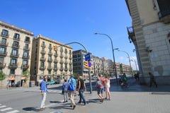 Opinión de la calle de España Barcelona Imagenes de archivo