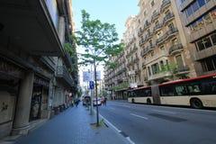 Opinión de la calle de la ciudad de Barcelona Fotos de archivo libres de regalías
