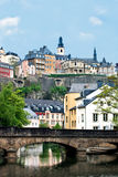 Opinión de la ciudad de la ciudad vieja Luxemburgo Imagen de archivo