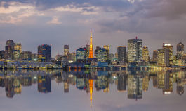 Opinión de la ciudad de Tokio y torre de Tokio Imágenes de archivo libres de regalías