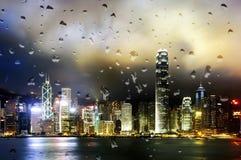 Opinión de la noche de Hong Kong Victoria Harbor Foto de archivo