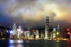 Opinión de la noche de Hong Kong Victoria Harbor, Imágenes de archivo libres de regalías