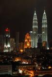 Opinión de la noche de Kuala Lumpur Fotos de archivo libres de regalías