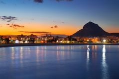 Opinión de la noche de la playa de la puesta del sol de Alicante Javea Fotografía de archivo libre de regalías