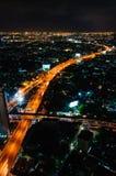 Opinión de la noche sobre la ciudad de Bangkok, Tailandia Fotos de archivo