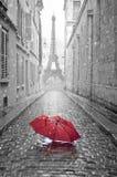 Opinión de la torre Eiffel de la calle de París Foto de archivo libre de regalías
