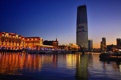 Opinión de LandscapeâNight de la ciudad de Tianjin Fotografía de archivo libre de regalías