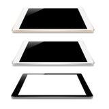 Opinión de ángulo ascendente de la perspectiva de la tableta de la mofa sobre el diseño blanco del vector Foto de archivo