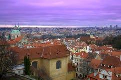 Opinión del crepúsculo de Praga Imágenes de archivo libres de regalías