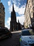 Opinión del editorial A en la silueta de la iglesia de Tolbooth en Castlehill Foto de archivo