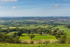 Opinión del este del campo de Devon de las colinas de Blackdown de la colina del este cerca de Ottery St Mary Fotografía de archivo