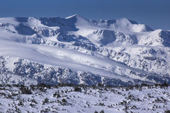 Opinión del invierno de picos coronados de nieve en la montaña de Rila Fotografía de archivo libre de regalías