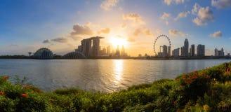 Opinión del panorama de la ciudad de Singapur Imagen de archivo