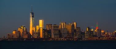 Opinión del panorama del horizonte de Manhattan en NYC Fotos de archivo libres de regalías