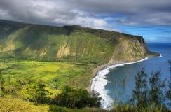Opinión del valle de Waipio en la isla grande Imagenes de archivo