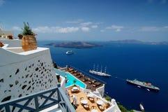 Opinión del volcán de Santorini Fotos de archivo