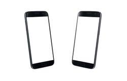 Opinión isométrica del teléfono elegante moderno negro Pantalla blanca para la maqueta, aislada Imágenes de archivo libres de regalías