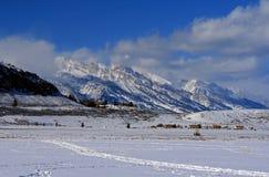 Opinión magnífica de Tetons del refugio de los alces en Jackson Hole Wyoming Imagen de archivo