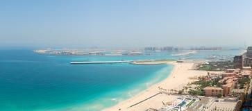 Opinión panorámica sobre la isla artificial de la palma de Jumeirah Imagen de archivo libre de regalías