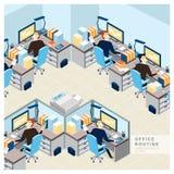 Opinión rutinaria de la oficina en diseño plano Fotografía de archivo libre de regalías