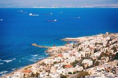 Opinión sobre la costa costa de Haifa, Israel Imágenes de archivo libres de regalías